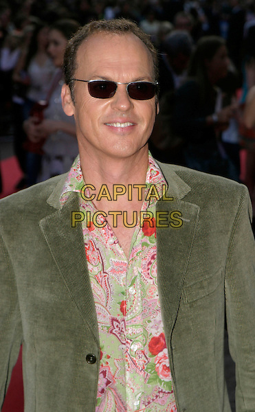 "MICHAEL KEATON.""Herbie Fully Loaded"" Premiere,.Leicester Square, London,.28th July 2005.half length green cord jacket pink green paisley pattern shirt sunglasses.www.capitalpictures.com.sales@capitalpictures.com.© Capital Pictures."