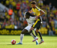 Bafetimbi Gomis of Swansea and Etienne Capoue of Watford    during the Barclays Premier League match Watford and Swansea   played at Vicarage Road Stadium , Watford