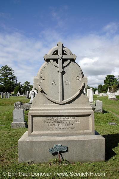 South Cemetery in Portsmouth, New Hampshire USA, which is part of scenic New England. George F Pearson headstone, Rear Admiral US Navy died on July 1, 1867