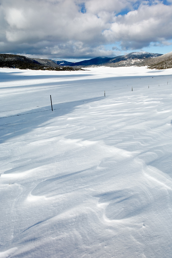 Valle Grande covered in winter snow, Valles Caldera National Preserve, New Mexico, USA