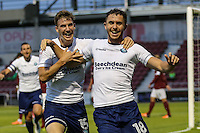 Dan Rowe of Wycombe Wanderers (right)celebrates scoring the opening goal with Dayle Southwell of Wycombe Wanderers (left) during The Checkatrade Trophy match between Northampton Town and Wycombe Wanderers at Sixfields Stadium, Northampton, England on 30 August 2016. Photo by David Horn / PRiME Media Images.