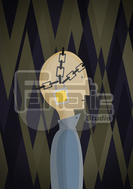 Conceptual illustration of man chained with padlock depicting prisoner of mind