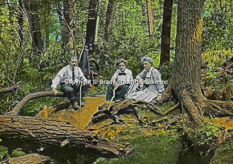 Fayette County PA:  Family photograph at Bear Run (Homer, Helen and Alice Brady Stewart) - 1915