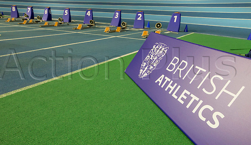 28.02.2016. EIS Sheffield, Sheffield, England. British Indoor Athletics Championships Day Two. General view of the British Athletics branding with the 60m starting blocks in the background on the Indoor Athletics Track, English Institute of Sport.