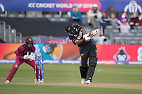 Ish Sodhi (New Zealand) advances down the wicket and hits over the top during West Indies vs New Zealand, ICC World Cup Warm-Up Match Cricket at the Bristol County Ground on 28th May 2019