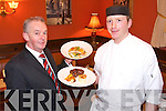 Imperial Hotel Feature Manager Joe McCarthy.and Chef John Flanigan.display some of the.delicious signature dishes.at The Olive Tree.   Copyright Kerry's Eye 2008