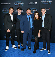 """LOS ANGELES, USA. December 17, 2019: Greg Grunberg, Elizabeth Grunberg, Jake Grunberg, Ben Grunberg & Sam Grunberg at the world premiere of """"Star Wars: The Rise of Skywalker"""" at the El Capitan Theatre.<br /> Picture: Paul Smith/Featureflash"""