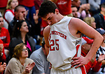 WATERBURY, CT. 14 March 2018-031418BS692 - Zack Penn (25) from Northwestern shows his disappointment along the bench after his team come up short against Kolbe Cathedral at the Div IV semi-finals at Kennedy High School on Wednesday evening. Bill Shettle Republican-American