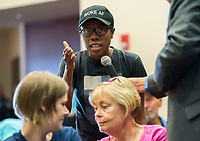 NWA Democrat-Gazette/CHARLIE KAIJO Raven Cook of Fayetteville shares her opinion about the Confederate statue in Bentonville Square at the Walmart Auditorium in the Shewmaker Center for Workforce Technologies, NWACC Campus in Bentonville, AR on Saturday, September 9, 2017. Community members discussed opinions on the Confederate soldier statue in the Bentonville Square and what should be done about it.