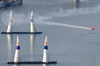 Red Bull Air Race international air show practice runs over the river Danube, Budapest preceding the anniversary of Hungarian state foundation. Hungary. Saturday, 18. August 2007. ATTILA VOLGYI