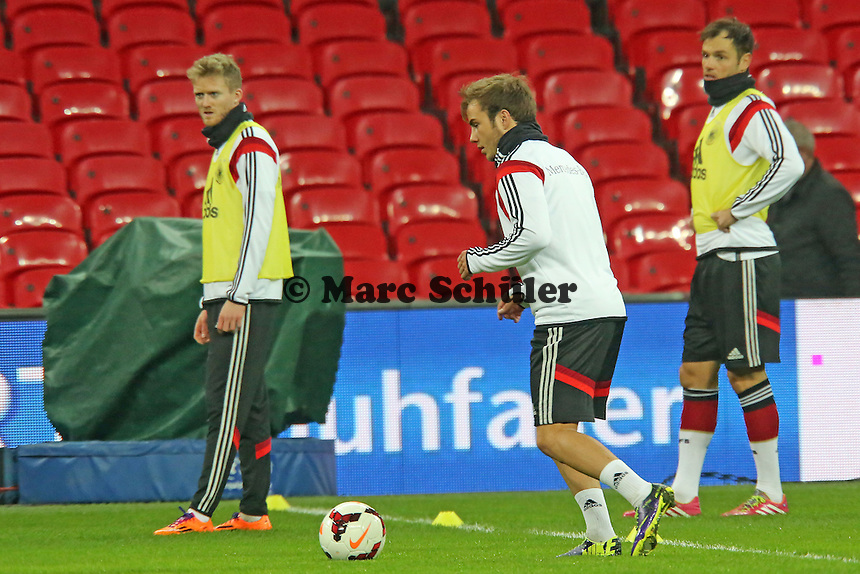Andre Schürrle, Mario Götze(D) - Abschlusstraining der Nationalmannschaft im Wembley Stadium
