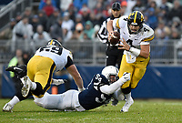 STATE COLLEGE, PA - OCTOBER 27: Penn State DT Robert Winsor (54) dives and sacks Iowa QB Nathan Nate Stanley (4). The Penn State Nittany Lions defeated the Iowa Hawkeyes 30-24 on October 27, 2018 at Beaver Stadium in State College, PA. (Photo by Randy Litzinger/Icon Sportswire)