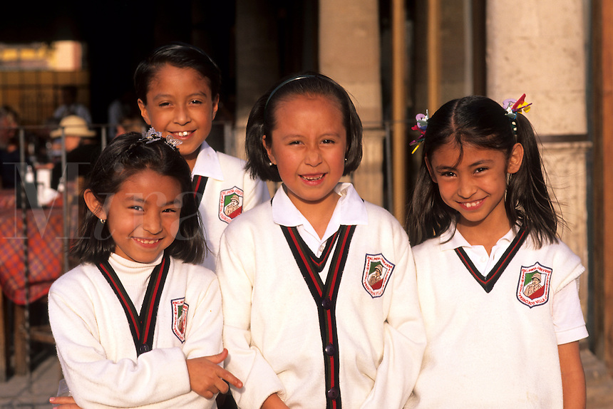 Young girl students age 12 and 13in costume in San Miguel de Allende Mexico.