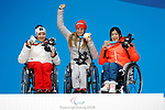(L-R) Claudia Loesch (AUT), Anna Schaffelhuber (GER), Momoka Muraoka (JPN), MARCH 11, 2018 - Alpine Skiing : Women's Super G Sitting Medal Ceremony at PyeongChang Medals Plaza during the PyeongChang 2018 Paralympics Winter Games in Pyeongchang, South Korea. (Photo by Yusuke NakanishiAFLO SPORT)