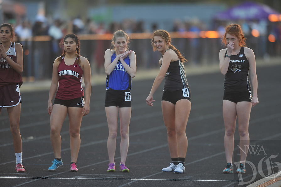 NWA Democrat-Gazette/MICHAEL WOODS &bull; @NWAMICHAELW<br /> High School Athletes compete Friday April 8, 2016, at the Fayetteville Bulldog Relays track meet at Ramay Junior High.