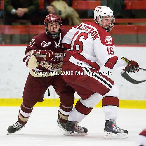 Matt Price (BC - 25), Alex Fallstrom (Harvard - 16) - The Boston College Eagles defeated the Harvard University Crimson 3-2 on Wednesday, December 9, 2009, at Bright Hockey Center in Cambridge, Massachusetts.