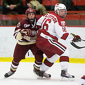 Matt Price (BC - 25), Alex Fallstrom (Harvard - 16) - The Boston College Eagles defeated the Harvard University Crimson 3-2 on Wednesday, December 9, 2009, at Bright Hockey Center in Cambridge, Massachusetts.