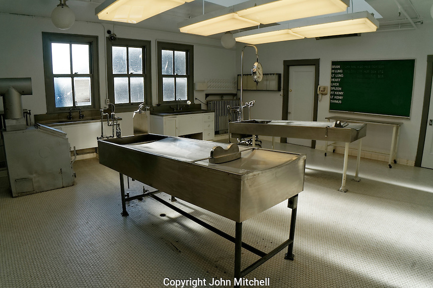 Autopsy room of the former Vancouver city morgue, now the Vancouver Police Museum, Vancouver, BC, Canada