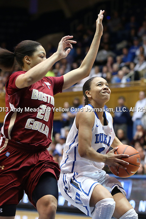 27 January 2013: Duke's Chloe Wells (4) and Boston College's Shayra Brown (20). The Duke University Blue Devils played the Boston College Eagles at Cameron Indoor Stadium in Durham, North Carolina in an NCAA Division I Women's Basketball game. Duke won the game 80-56.