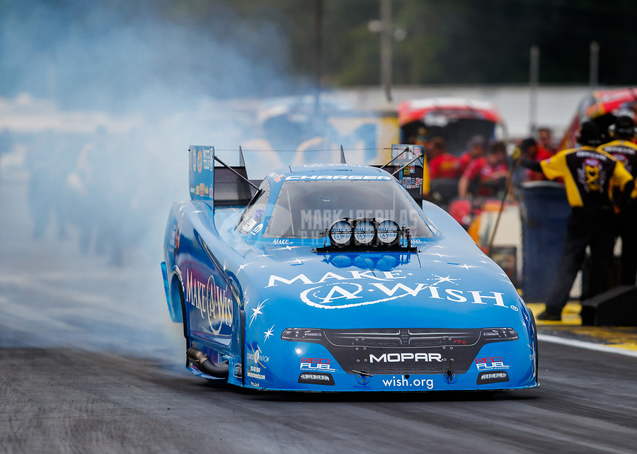 Aug 20, 2017; Brainerd, MN, USA; NHRA funny car driver Tommy Johnson Jr during the Lucas Oil Nationals at Brainerd International Raceway. Mandatory Credit: Mark J. Rebilas-USA TODAY Sports