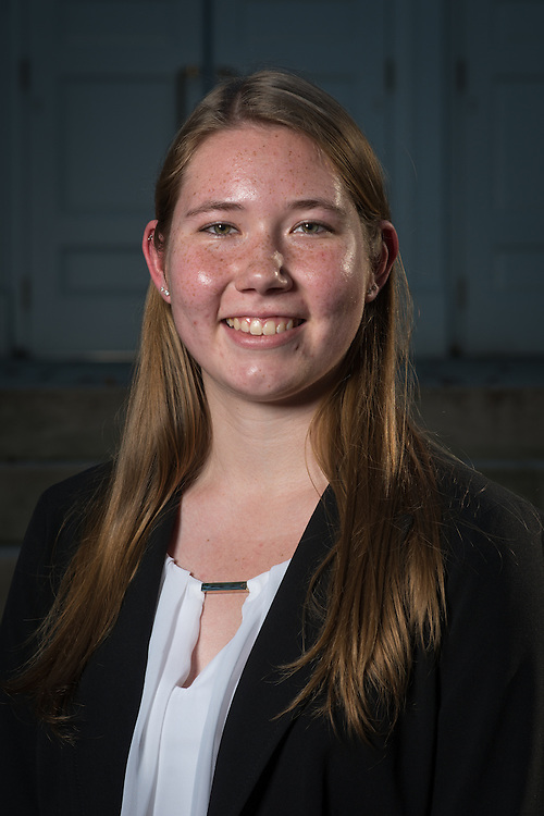Jessica Carroll poses for a portrait in front of Ohio University's Memorial Auditorium as part of the College of Business's Emerging Leaders program on September 21, 2016.
