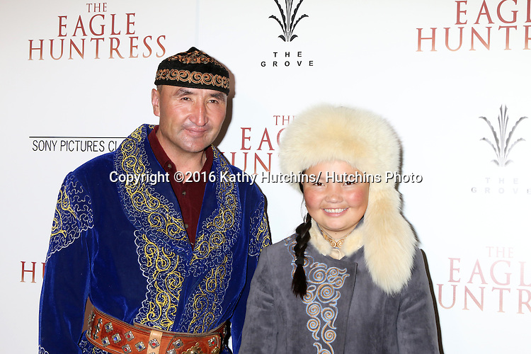 "LOS ANGELES - OCT 18:  Nurgaiv Rys, Aisholpan Nurgaiv at the ""The Eagle Huntress"" Premiere at the Pacific Theatres at The Grove on October 18, 2016 in Los Angeles, CA"