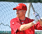 19 February 2011: Newly acquired first baseman for the Washington Nationals, Adam LaRoche takes hitting drills during Spring Training at the Carl Barger Baseball Complex in Viera, Florida. Mandatory Credit: Ed Wolfstein Photo