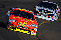 Apr 11, 2008; Avondale, AZ, USA; NASCAR Sprint Cup Series driver Kevin Harvick leads Dale Earnhardt Jr during practice for the Subway Fresh Fit 500 at Phoenix International Raceway. Mandatory Credit: Mark J. Rebilas-