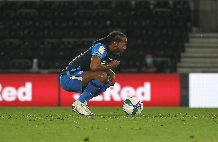 Preston North End's Daniel Johnson prepares to take a penalty<br /> <br /> Photographer Mick Walker/CameraSport<br /> <br /> Carabao Cup Second Round Northern Section - Derby County v Preston North End - Tuesday 15th September 2020 - Pride Park Stadium - Derby<br />  <br /> World Copyright © 2020 CameraSport. All rights reserved. 43 Linden Ave. Countesthorpe. Leicester. England. LE8 5PG - Tel: +44 (0) 116 277 4147 - admin@camerasport.com - www.camerasport.com