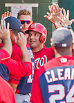 20 March 2015: Washington Nationals infielder Danny Espinosa returns to the dugout after scoring in the first inning during a Spring Training game against the Houston Astros at Osceola County Stadium in Kissimmee, Florida. The Nationals defeated the Astros 7-5 in Grapefruit League play. Mandatory Credit: Ed Wolfstein Photo *** RAW (NEF) Image File Available ***