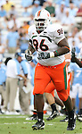 06 October 2007: Miami's Antonio Dixon. The University of North Carolina Tar Heels defeated the University of Miami Hurricanes 33-27 at Kenan Stadium in Chapel Hill, North Carolina in an Atlantic Coast Conference NCAA College Football Division I game.