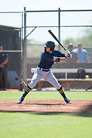 Milwaukee Brewers shortstop Brice Turang (2) at bat during an Instructional League game against the San Diego Padres at Peoria Sports Complex on September 21, 2018 in Peoria, Arizona. (Zachary Lucy/Four Seam Images)