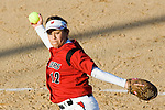 MADISON, WI - APRIL 17: Pitcher Letty Olivarez #12 of the Wisconsin Badgers softball team pitches against the University of Illinois-Chicago at Goodman Diamond on April 17, 2007 in Madison, Wisconsin. (Photo by David Stluka)