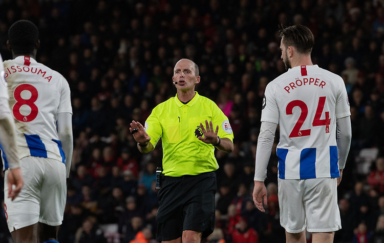 Referee Mike Dean<br /> <br /> Photographer David Horton/CameraSport<br /> <br /> The Premier League - Bournemouth v Brighton and Hove Albion - Saturday 22nd December 2018 - Vitality Stadium - Bournemouth<br /> <br /> World Copyright © 2018 CameraSport. All rights reserved. 43 Linden Ave. Countesthorpe. Leicester. England. LE8 5PG - Tel: +44 (0) 116 277 4147 - admin@camerasport.com - www.camerasport.com