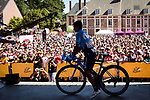 Nairo Quintana (COL) Movistar Team in front of the huge crowd at sign on before the start of Stage 9 of the 2018 Tour de France running 156.5km from Arras Citadelle to Roubaix, France. 15th July 2018. <br /> Picture: ASO/Pauline Ballet | Cyclefile<br /> All photos usage must carry mandatory copyright credit (&copy; Cyclefile | ASO/Pauline Ballet)