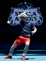 5th January 2020; RAC Arena, Perth, Western Australia; ATP Cup Australia, Perth, Day 3; Italy versus Norway; Casper Ruud of Norway plays a forehand shot against Fabio Fognini of Italy - Editorial Use