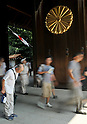 August 15, 2011, Tokyo, Japan - The crest of chrysanthemum, symbolizing Japans imperia system, adorns the huge wooden gate to the main sanctuary of Yasukuni Shrine in Tokyo as visitors pay their homage to the war dead as the nation observes the 66th anniversary of the end of World War II on Monday, August 15, 2011. (Photo by AFLO) [3620] -mis-