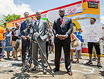 BATON ROUGE, LA -JULY 07:  Attorneys for Quinyetta McMillon and her 15 year-old son Cameron Sterling discuss the shooting of the 15 year-old's father, Alton Sterling, in front of the Triple S Mart in Baton Rouge, Louisiana.  Sterling was shot and killed by police on July 5, 2016 in Baton Rouge, Louisiana. (Photo by Mark Wallheiser/Getty Images)