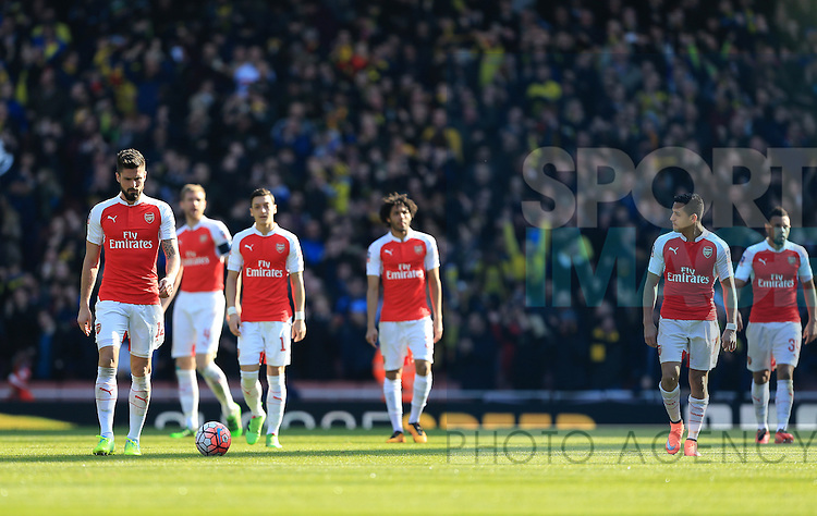Arsenal's Olivier Giroud looks on dejected after Watford's Odion Ighalo scores his sides opening goal during the Emirates FA Cup match at The Emirates Stadium.  Photo credit should read: David Klein/Sportimage