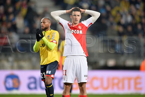 10.01.2017. Stade Bonal, Montbéliard, France. French League cup football, Sochaux versus Monaco.  Guido CARRILLO (mon) with a very close miss on goal