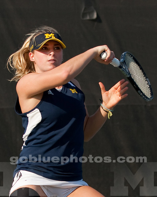 The University of Michigan women's tennis team defeated Notre Dame, 5-2, at the Varsity Tennis Center in Ann Arbor, Mich., on March 21, 2012.