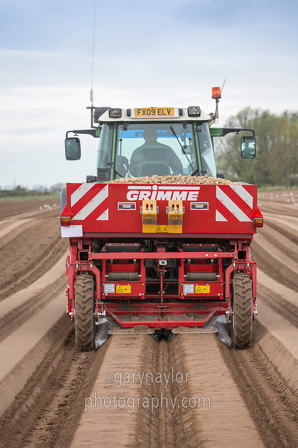 Planting Ramos potatoes with a Grimme GB215 two row planter - Lincolnshire, April