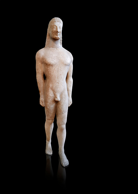 Naxian marble Ancient Greek Archaic statue of a kouros, found on Thera, circa 590-570 BC BC, Athens National Archaeological Museum. Cat no 8. Against black<br /> <br /> This statue is typical of a Thera island workshop
