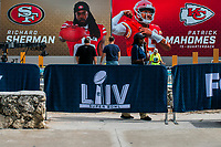 MIAMI, USA - January 24: People are seen working at the Super Bowl XLIV fan zone on January 24, 2020 in Miami Beach, USA.  The Super Bowl XLIV will take place in the Hard Rock Stadium in Miami between the teams 49ers vs. Chiefs, and it will be played on Sunday, Feb. 2, 2020. (Photo by VIEWpress)