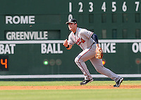 Infielder Matt Lipka (5) of the Rome Braves, Class A affiliate of the Atlanta Braves, in the first game of a doubleheader against the Greenville Drive on August 15, 2011, at Fluor Field at the West End in Greenville, South Carolina. Lipka was a 1st round pick in the 2010 First-Year Player Draft. Rome defeated Greenville, 6-3. (Tom Priddy/Four Seam Images)