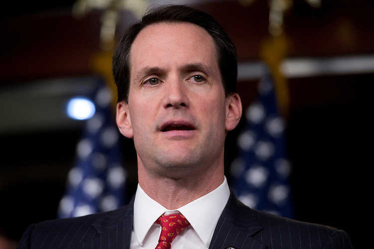 "UNITED STATES - NOVEMBER 15:  Rep. Jim Himes, D-Conn., speaks at a news conference with members of the New Democratic Coalition in the Capitol Visitor Center on how to deal with the upcoming ""fiscal cliff.""  (Photo By Tom Williams/CQ Roll Call)"