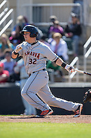 Alex Murphy (32) of the Delmarva Shorebirds follows through on his swing against the Kannapolis Intimidators at Kannapolis Intimidators Stadium on April 13, 2016 in Kannapolis, North Carolina.  The Intimidators defeated the Shorebirds 8-7.  (Brian Westerholt/Four Seam Images)