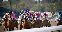 April 7, 2012. The field passes the grandstand for the first time in the Santa Anita Derby(GI) at Santa Anita Park in Arcadia, CA.