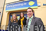 NEW APPOINTMENT: Declan O'Sullivan who is joining Printing.ie as their new sales executive, pictured outside the shop in Ashe Street, Tralee, on Wednesday with Paula O'Sullivan and Sinead O'Sullivan. Declan will be responsible for full colour printing, wide format printing and website sales for the company. Printing.ie is owned by Splash and is Ireland's largest printing website and has offices in Tralee and Killarney and has a full time staff of twelve.   Copyright Kerry's Eye 2008