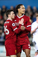 Andrew Robertson & Virgil van Dijk of Liverpool during the Premier League match between Swansea City and Liverpool at the Liberty Stadium, Swansea, Wales on 22 January 2018. Photo by Mark Hawkins / PRiME Media Images.